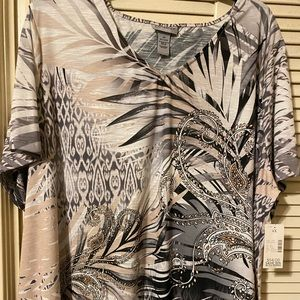 Catherine's Top size 4X NWT Lovely Neutral Colors